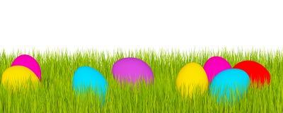 Wielkanocny sztandar, zielona trawa i Wielkanocni jajka, ilustracja wektor