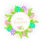 Wielkanocny sztandaru szablon z pięknymi kolorowymi jajkami i zieleń liśćmi ilustracja wektor
