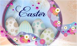 Wielkanocny sztandaru tła szablon z pięknymi kolorowymi wiosna kwiatami, jajkami i obraz stock