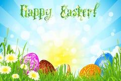Wielkanocny tło z Dekorującymi Wielkanocnymi jajkami ilustracji