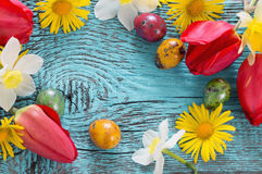 Wielkanocny tło z kwiatami Fotografia Stock