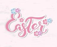 Wielkanocny tekst odizolowywający na textured tle z kwiatami Obrazy Royalty Free
