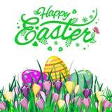 Wielkanocny temat z jajkami w trawie i kwiatach, kolorowy tło z pisać list Szczęśliwą wielkanoc, wektorowa ilustracja ilustracji
