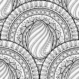 Wielkanocny tematu mandala z doodle jajkiem Etniczny kwiecisty wzór Czarny i biały projekt Henny Paisley plemienny bezszwowy tło Obraz Royalty Free