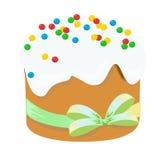 Wielkanocny tradycyjny tort i jajka Projekta element Odizolowywający na bielu EPS ilustracja 10 Fotografia Stock
