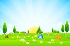 Wielkanocny wakacyjny tło ilustracja wektor
