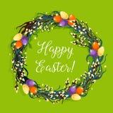 Wielkanocny wianek z jajkiem i wierzbą dla karcianego projekta Obrazy Royalty Free