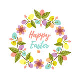 Wielkanocny wianek z kolorowymi deseniowymi jajkami i kwiatem rozgałęzia się Zdjęcia Royalty Free