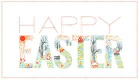 Wielkanocny wpisowy Liniowy styl Zdjęcia Stock