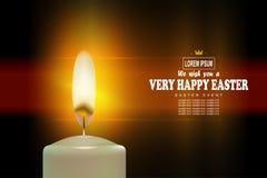 Wielkanocny wyśmienity textural skład z jaskrawą płonącą świeczką, royalty ilustracja