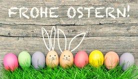 Wielkanocnych jajek śliczny królik Frohe Ostern Szczęśliwa Wielkanocna niemiec fotografia royalty free