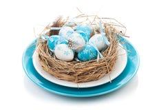 Wielkanocnych jajek gniazdeczko na talerzu Obrazy Royalty Free