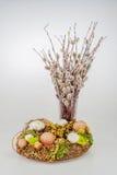 Wielkanocnych jajek kici wierzby wianek Zdjęcie Stock
