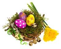 Wielkanocnych jajek ręka malująca w łozinowym wianku, ptasi ` s gniazdeczko mech Fotografia Stock