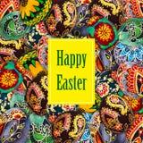Wielkanocnych jajek ręka malujący tło Grępluje szablon Zdjęcia Royalty Free