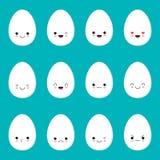 Wielkanocnych jajek szablonu projekt dla wita? i zaproszenia kart Kawaii styl royalty ilustracja