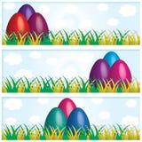 Wielkanocnych jajek sztandary, Wielkanocne karty Fotografia Royalty Free