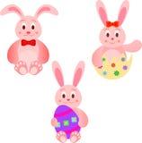 Wielkanocnych królików ilustracje z Wielkanocnymi jajkami Obraz Royalty Free