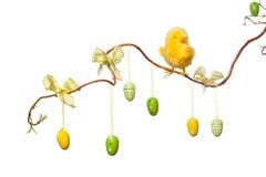 Wielkanocy gałąź z Wielkanocnymi jajkami, faborkami i kurczątkiem -, Obraz Stock