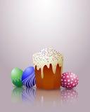 Wielkanocy jajka i tort. Fotografia Royalty Free
