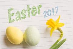 Wielkanocy 2017 powitanie na liniowym papierze Obraz Royalty Free