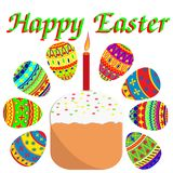 Wielkanocy sety malujący jajka i wielkanoc zasychają z świeczką Suginoi ilustracja wektor