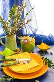 Wielkanocy wiązki wierzby stołowe ustawia bazie Obraz Stock
