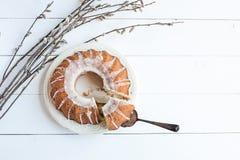 Wielkanocy wierzba i tort zdjęcie stock