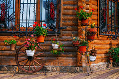 Wielkar met potten van bloemen Stock Foto