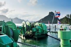 Wielki łódkowaty winch na pokładzie Obraz Royalty Free