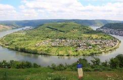 Wielki łęk Rhine dolina blisko Boppard, Niemcy. Fotografia Royalty Free