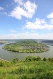 Wielki łęk Rhine dolina blisko Boppard, Niemcy. Obrazy Stock