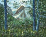 Wielki śnieżny halny widoczny przez drzew w lesie ilustracja wektor