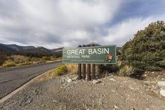 Wielki Basenowy parka narodowego wejścia znak Fotografia Royalty Free