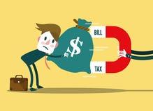 Wielki Bill, podatku magnes przyciąga biznesmena pieniądze Fotografia Stock