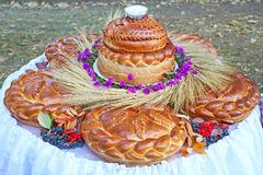 Wielki bochenek chleb i sól Fotografia Royalty Free