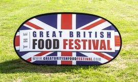 Wielki Brytyjski Karmowy festiwalu znak przy Bowood domem w Wiltshire obrazy royalty free