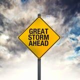 Wielki burza znak ostrzegawczy Naprzód Zdjęcie Stock