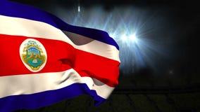 Wielki costa rica flaga państowowa falowanie ilustracja wektor