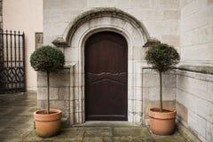 Wielki drewniany drzwi zamykał starego fortecę w kamiennej ścianie kasztel w Niemcy na Rhine rzece Zdjęcia Royalty Free