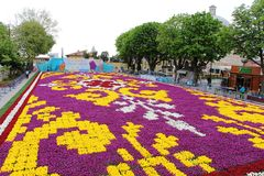Wielki dywan tulipany świat w Sultanahmet, Istanbul Obrazy Royalty Free
