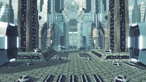 Wielki futurystyczny scifi miasto świadczenia 3 d ilustracji