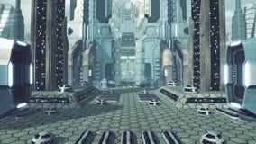 Wielki futurystyczny scifi miasto świadczenia 3 d Zdjęcie Stock
