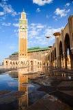 Wielki Hassan II meczetowy i odbicie Obraz Royalty Free
