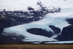 Wielki icelandic lodowiec w rzecznym kształcie Zdjęcie Royalty Free