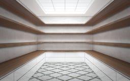 Wielki jaskrawy garderoba pokój z pustymi półkami ilustracja wektor