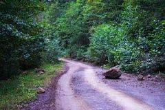 Wielki kamień spadał na brud halnej drodze po deszczu zdjęcia stock