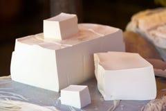 Wielki kawału Tofu sprzedaży miejscowego rynek Chiny Zdjęcia Stock