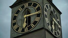 Wielki kościół zegar w Europa na kościelny wierza St Peter Zurychu szwajcarii zdjęcie wideo