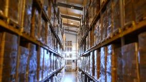 Wielki magazyn z wysokimi stojakami towary, pełno Storehouse w przedsięwzięciu, fabryka zdjęcie wideo